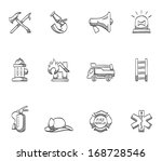 Firefighter Icons In Sketches