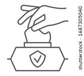 hand pulling wet tissue thin...   Shutterstock .eps vector #1687305040