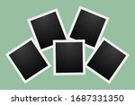 black polaroid photo cards with ... | Shutterstock .eps vector #1687331350