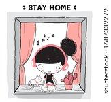 cute doodle cute girl enjoy... | Shutterstock .eps vector #1687339279