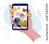 video calling with old couple....   Shutterstock .eps vector #1687369039