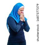 sick arab female having flu ... | Shutterstock . vector #1687377379