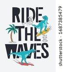 surfer dinosaur vector... | Shutterstock .eps vector #1687385479