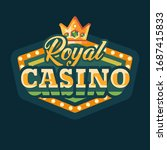 royal casino green retro sign... | Shutterstock .eps vector #1687415833