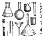 laboratory equipment sketches... | Shutterstock .eps vector #1687427059