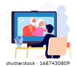 video call with parents. online ... | Shutterstock .eps vector #1687430809