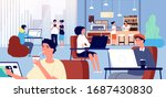 working in cafe. coffee store ... | Shutterstock .eps vector #1687430830