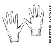 vector medical gloves sketch.... | Shutterstock .eps vector #1687436119