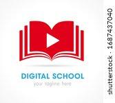 digital school open book logo.... | Shutterstock .eps vector #1687437040