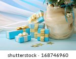 gifts in blue wrapping paper... | Shutterstock . vector #168746960