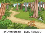 road on green forest with grass ... | Shutterstock .eps vector #1687485310