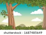 green forest with grass and... | Shutterstock .eps vector #1687485649