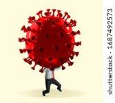 man headed by model of covid 19 ... | Shutterstock . vector #1687492573