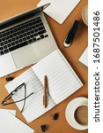 home office desk workspace with ...   Shutterstock . vector #1687501486