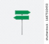 realistic green road sign with... | Shutterstock .eps vector #1687510453