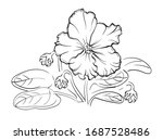 violet flowers drawn by a line. ... | Shutterstock .eps vector #1687528486