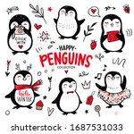 doodle penguins  hand drawn set ...   Shutterstock .eps vector #1687531033