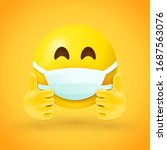 emoji with mouth mask and... | Shutterstock .eps vector #1687563076