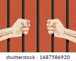 behind the bars. two hands arms ... | Shutterstock .eps vector #1687586920