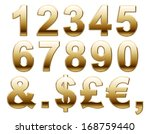shiny gold numbers and symbols... | Shutterstock . vector #168759440