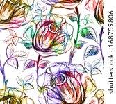 seamless roses pattern. vector  ...   Shutterstock .eps vector #168759806