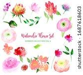 watercolor loose style flowers... | Shutterstock . vector #1687618603
