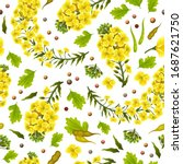 pattern rapeseed flowers and... | Shutterstock .eps vector #1687621750