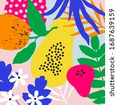 contemporary hawaiian collage.... | Shutterstock .eps vector #1687639159