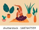 sport exercise at home.woman is ...   Shutterstock .eps vector #1687647559