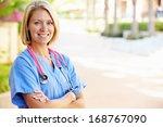outdoor portrait female nurse | Shutterstock . vector #168767090