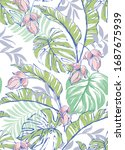 vector tropical pattern with... | Shutterstock .eps vector #1687675939