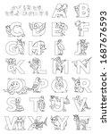zoo animal alphabet. letters... | Shutterstock .eps vector #1687676593