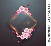 pink soft floral frame with... | Shutterstock .eps vector #1687727653