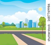 scenery urban city park... | Shutterstock .eps vector #1687769986