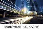 traffic city night  at hongkong ...   Shutterstock . vector #168777749