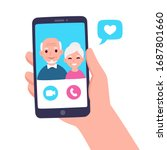 video call with grandparents or ... | Shutterstock .eps vector #1687801660
