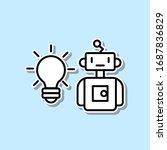 robotic idea sticker icon....