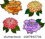 japanese flower for tattoo... | Shutterstock .eps vector #1687842736