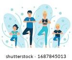 family yoga. people do yoga...   Shutterstock .eps vector #1687845013