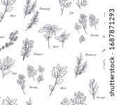 culinary herbs seamless pattern ... | Shutterstock .eps vector #1687871293
