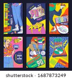 80's disco style poster set for ... | Shutterstock .eps vector #1687873249