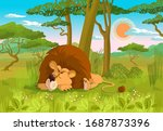 An Image Of A Lion Sleeping In...