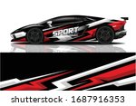 sports car wrapping decal design | Shutterstock .eps vector #1687916353