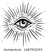 blackwork tattoo flash. eye of... | Shutterstock .eps vector #1687922293