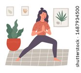 young woman sitting in yoga... | Shutterstock .eps vector #1687934500