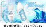 toilet cleaner bottle in water... | Shutterstock .eps vector #1687971766