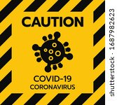 yellow caution sign of covid 19.... | Shutterstock .eps vector #1687982623