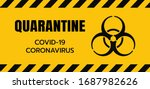 yellow caution sign of covid 19.... | Shutterstock .eps vector #1687982626