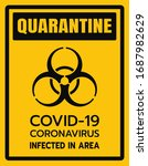 yellow caution sign of covid 19.... | Shutterstock .eps vector #1687982629