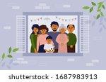 stay home concept. house facade.... | Shutterstock .eps vector #1687983913